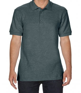 dark heather premium cotton polo shirt