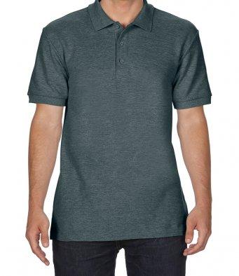 dark heather premium cotton polo shirt
