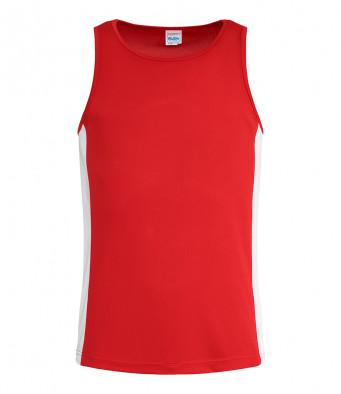 fire red arc white vest