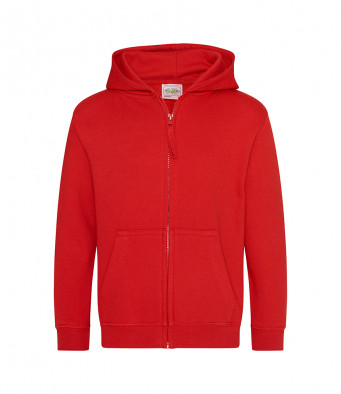 fire red childrens zipped hoodie
