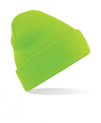 fluorescent green cuffed beanie