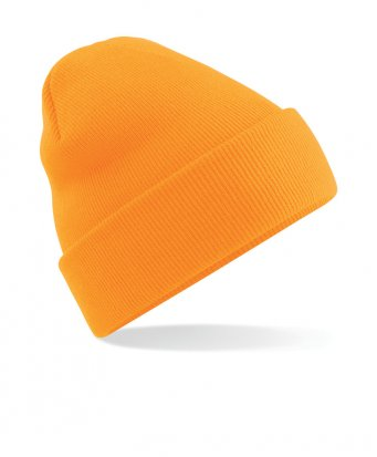 fluorescent orange cuffed beanie