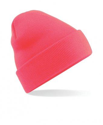 fluorescent pink cuffed beanie