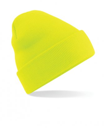 fluorescent yellow cuffed beanie