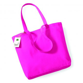 fuchsia organic cotton shopper tote bag