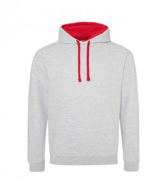 heathergrey firered contrast hoodies