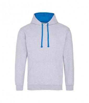 heathergrey sapphireblue contrast hoodies