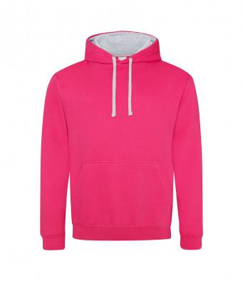 hotpink heathergrey contrast hoodies