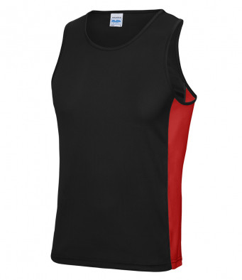 jet black fire red vest