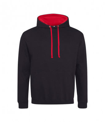 jetblack firered contrast hoodies
