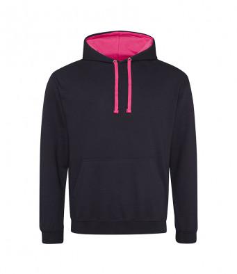 jetblack hotpink contrast hoodies