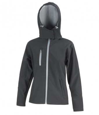 ladies black grey hooded softshell jacket