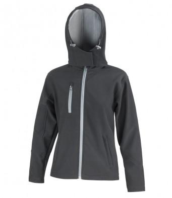 ladies black grey hooded softshell jacket