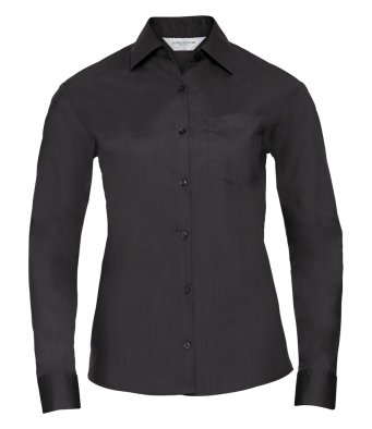 ladies black long sleeve poplin shirt