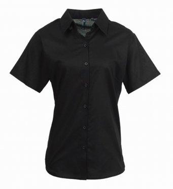 ladies black short sleeve oxford shirt