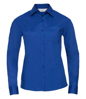 ladies bright royal long sleeve poplin shirt