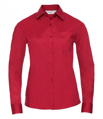 ladies classic red long sleeve poplin shirt