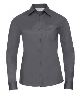ladies convoy grey long sleeve poplin shirt