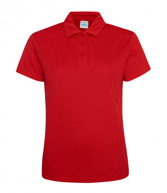 ladies cool fire red polo shirt
