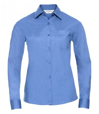 ladies corp blue long sleeve poplin shirt