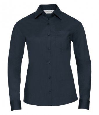 ladies french navy long sleeve poplin shirt