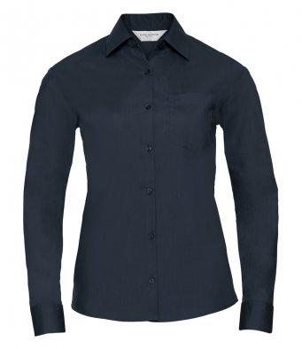 ladies french navy long sleeve poplin shirt