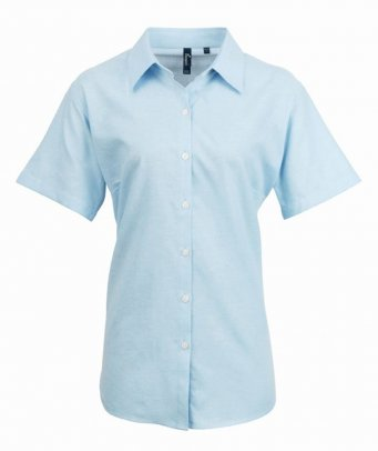 ladies light blue short sleeve oxford shirt
