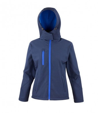 ladies navyroyal hooded softshell jacket