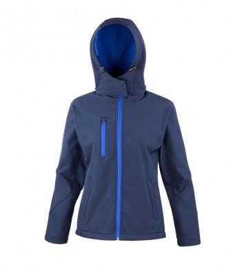 ladies navyroyal hooded softshell jacket