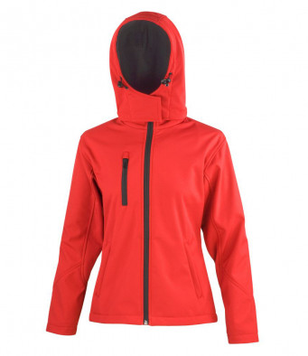 ladies redblack hooded softshell jacket