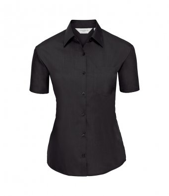 ladies short sleeve black poplin