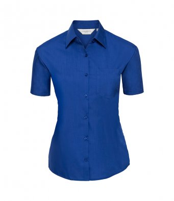 ladies short sleeve bright royal poplin