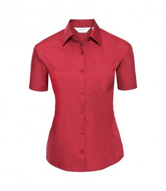 ladies short sleeve classic red poplin