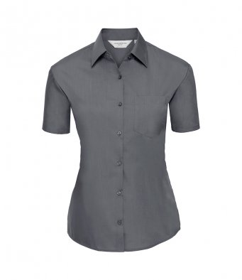 ladies short sleeve convoy grey poplin