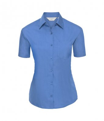 ladies short sleeve corp blue poplin