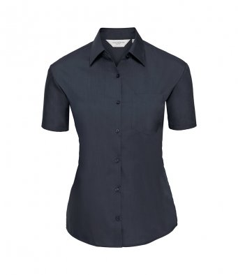 ladies short sleeve french navy poplin