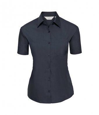 ladies short sleeve french navy poplin