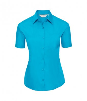 ladies short sleeve turquoise poplin
