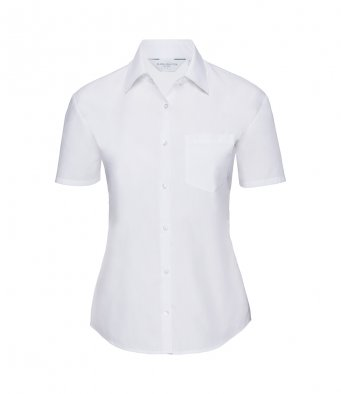 ladies short sleeve white poplin