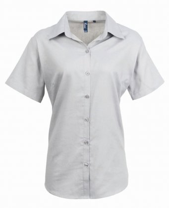 ladies silver short sleeve oxford shirt