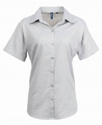 ladies silver short sleeve oxford shirt