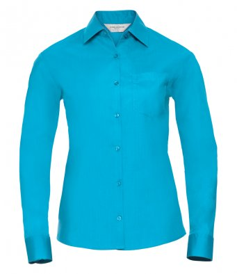 ladies turquoise long sleeve poplin shirt