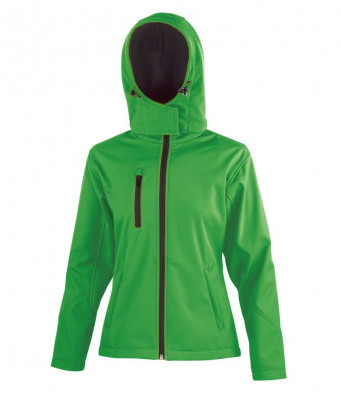 ladies vividgreen black hooded softshell jacket