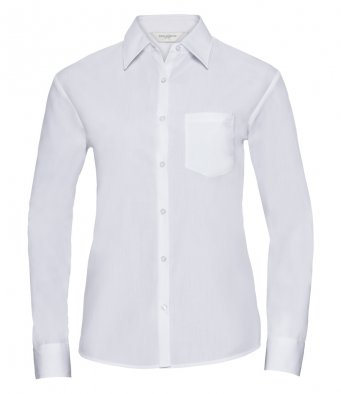 ladies white long sleeve poplin shirt