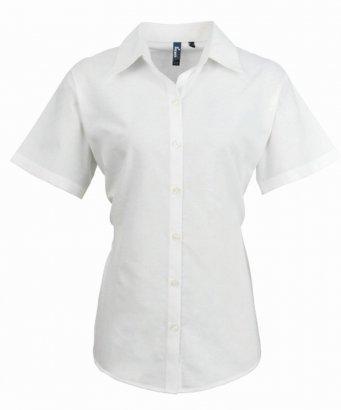 ladies white short sleeve oxford shirt