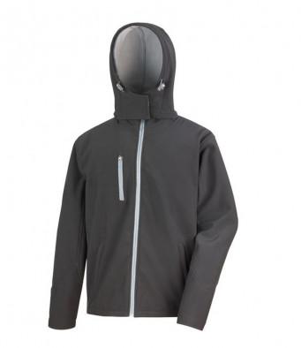 mens hooded softshell jacket black grey