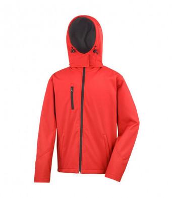 mens hooded softshell jacket red black