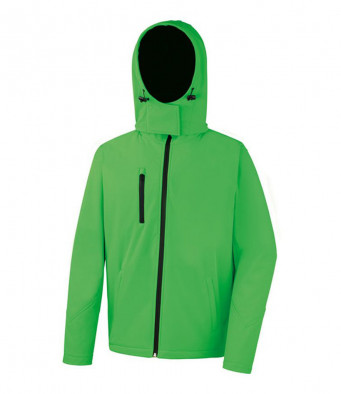 mens hooded softshell jacket vividgreen black