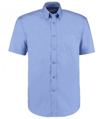 mid blue oxford short sleeve shirt