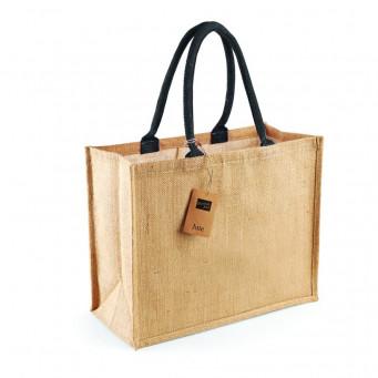 natural black jute shopping bag